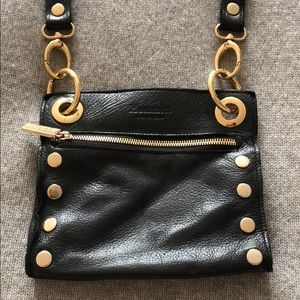 Hammitt black crossbody purse with gold accents
